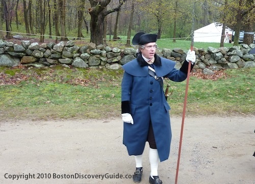 Photo of Boston Patriot's Day Reenactor wearing Colonial clothes that he made by hand