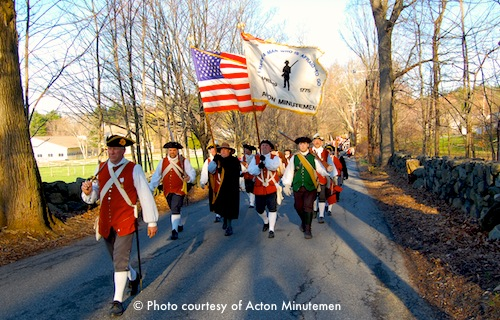 Menotomy Minute Men with fifes and drums near Jason Russell House in Arlington, MA