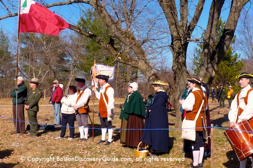 Acton Minutemen in reenactment ceremony near Paul Revere Capture Site