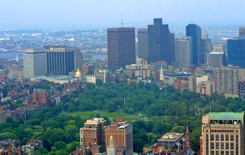 From this photo taken from Prudential Skywalk (copyright 2006 Jared C. Benedict), you can see Beacon Hill and the Charles River, Boston Common, the spire of Park Street Church, and the Downtown Financial District