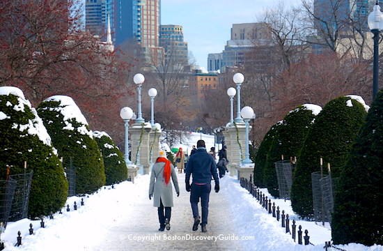 Boston Walking Tour in the Snow - Public Garden