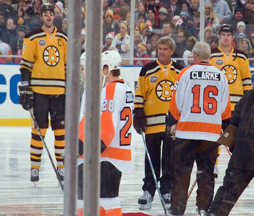 Boston Bruins and legendary Bobby Orr and Bobby Clarke at Winter Classic 2010 in Fenway Park / Public Skating Fenway Park Winter Classic / www.boston-discovery-guide.com