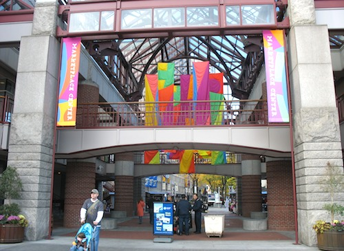 Entrance to Quincy Market / Faneuil Hall Marketplace in Boston, Massachusetts, USA