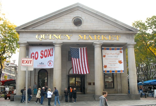 Photo of street performers in front of Quincy Market, in Boston, Massachusetts, USA