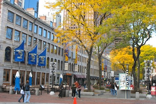 Photo of autumn foliage in Boston's Faneuil Hall Marketplace