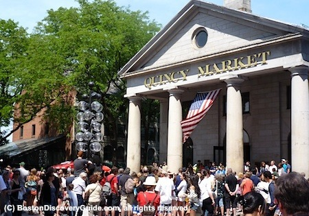 Quincy Market, with Faneuil Marketplace street performers on Memorial Day weekend