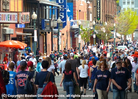 Red Sox fans walking to Fenway Park