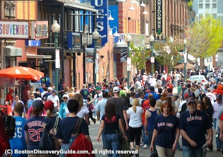 Boston Red Sox fans on Lansdowne Street next to Fenway Park