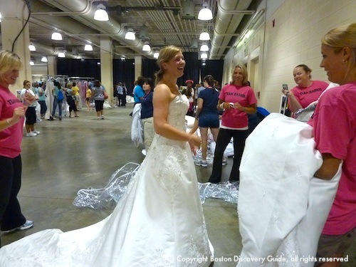 Bridal gown with dramatic train at Running of the Brides in Boston
