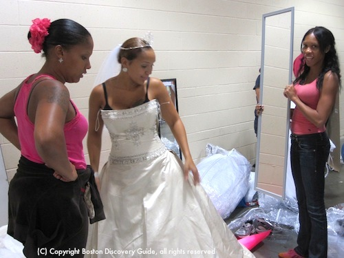 Checking for the right fit at Running of the Brides in Boston