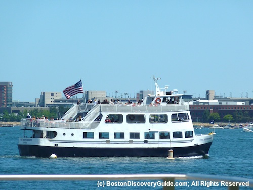 Boston Harbor cruise boat photographed from Fan Pier in South Boston Waterfront