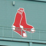 Red Sox emblem on side of Fenway Park stadium