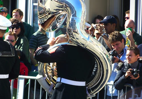 Tuba player in Boston's St Patricks Day Parade
