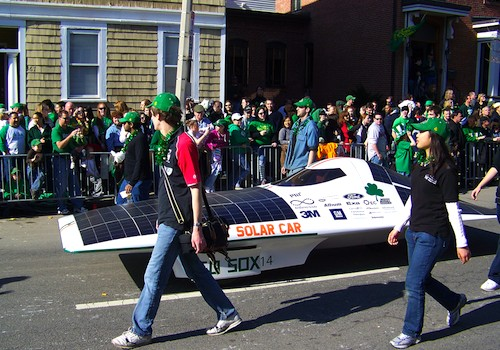 Green energy solar car from MIT in Boston's St Patricks Day Parade