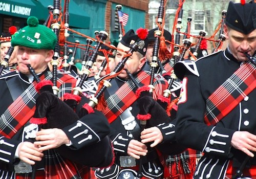Bagpipe band in Boston's St Patricks Day Parade