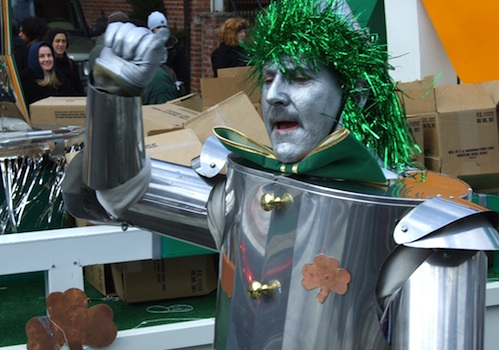 The Tin Man marching in St Patricks Day Parade in South Boston