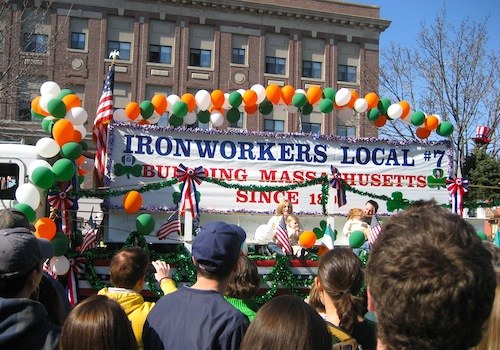 Ironworkers Local float in St Patricks Day Parade in Boston