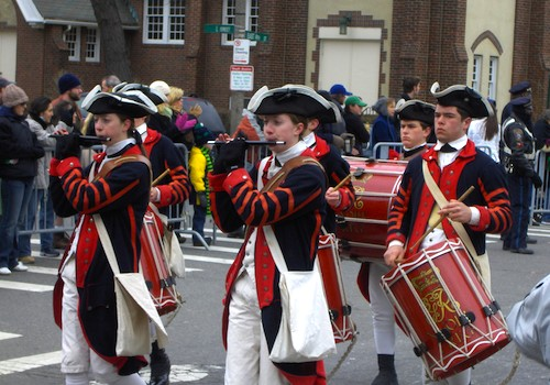 Fife and drum band in St Patricks Day Parade in Boston