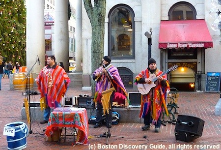 Street performers playing Peruvian music in Faneuil Marketplace across from Millennium Hotel