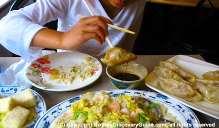 Shrimp-fried rice, crispy tofu, and Taiwanese dumplings at Taiwan Cafe, a Boston Cheap Eats favorite in Boston's Chinatown