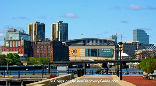 TD Garden in Boston - photo taken from Tudor Wharf near Marriott Residence Inn in Charlestown