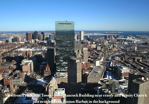 View of Boston from Prudential Skywalk Observatory - photo credit Luciof