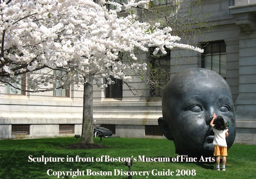 Sculpture outside of the Museum of Fine Arts in Boston Massachusetts