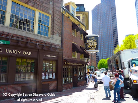 Photo of Union Oyster House, taken across the street at the Boston Holocaust Memorial