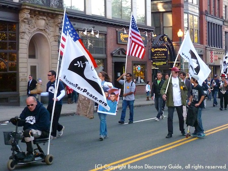 Marchers in Veterans for Peace Parade in Boston