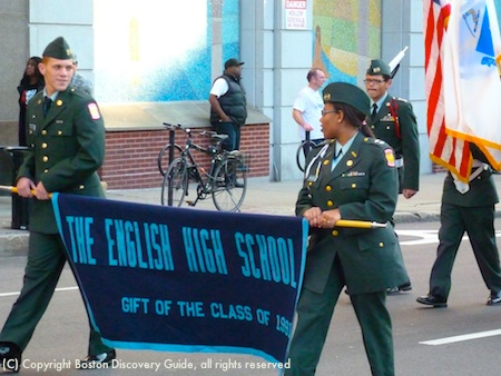 Marchers from Boston's English High School in Veterans Day Parade