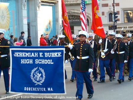 Marchers from Jeremiah E. Burke High School in Veterans Day Parade in Boston