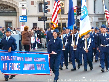 Members of Charlestown High School's Air Force Junior ROTC in Veterans Day Parade