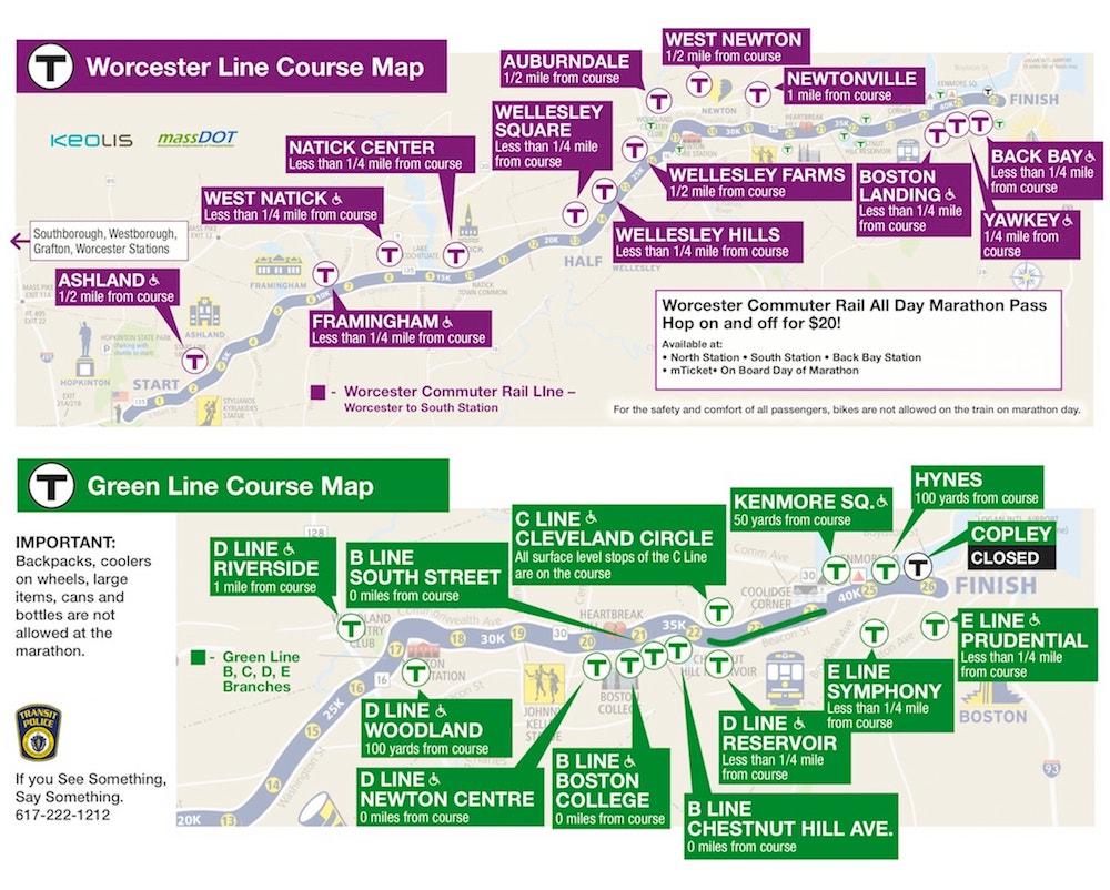 Boston MBTA map showing stations near Boston Marathon race route