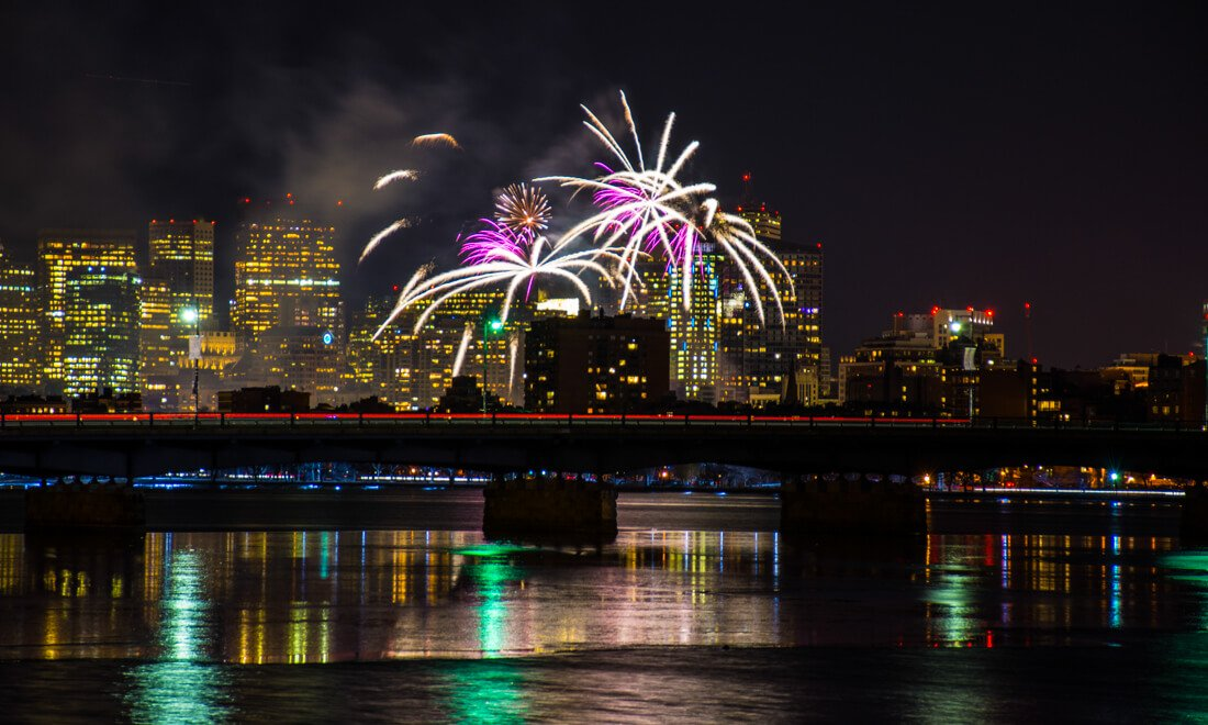 New Year's Eve fireworks over Boston, photographed from the Seaport/South Boston waterfront