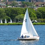 Sailboat on the Charles River, with Beacon Hill in the background