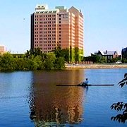 Photo of Doubletree Guest Suites in Boston, overlooking Charles River and Head of the Charles Regatta course - www.boston-discovery-guide.com