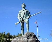 Minuteman statue - Lexington Green - stop on Boston-Lexington sightseeing tour