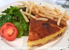 Quiche and salad at Petit Robert in Boston