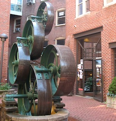 Sculpture outside of art gallery in Boston's South End