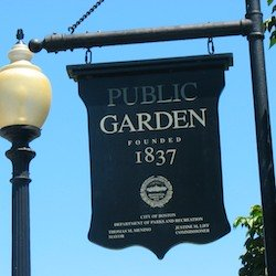 Boston Public Garden sign with founding date