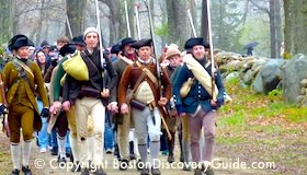 Reenactment of American Revolution battle march