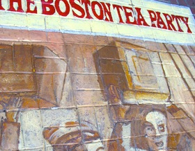 Boston Tea Party sign new Old South Meeting House