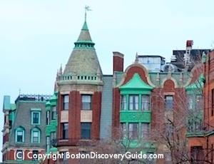 Rooftops along Boston's Beacon Street
