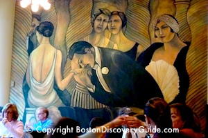 Brassesrie Jo Restaurant - Mural on wall / Boston Thanksgiving - www.boston-discovery-guide.com