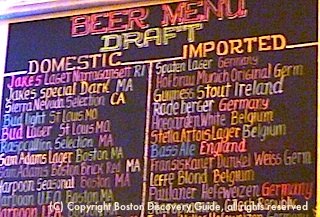 Sign at Jacob Wirth's restaurant in Boston - lists beers on draft