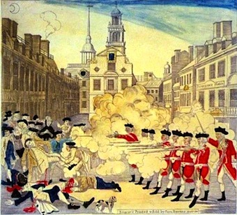 Paul Revere engraving of the Boston Massacre at the Old State House