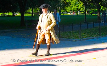 Photo of the red stripe marking Boston's Freedom Trail - www.boston-discovery-guide.com