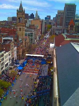 View of the Boston Marathon finish line from the Lenox Hotel on Boylston Street
