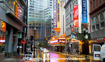 Boston's Theatre District in the rain