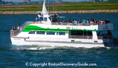 Boston Harbor Island ferry returning to Boston